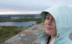 Ally on top of the hill (Loops666) Tags: woman wife girlfriend human female coat green eye lips nose face georgespond signalhill stjohns