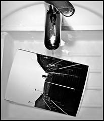 Dark Room #1 (Francesco Baldiotti) Tags: bw water contrast darkroom liverpool bathroom blackwhite almostbw highcontrast bn ilfordhp5 43 develop contrasto rubinetto cameraoscura rullino liverpoolone risciacquo zuikodigital1122mm olympuse410 zuikolove zuikoomadapter
