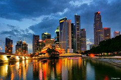CBD Singapore (Reggie Wan) Tags: city urban building tourism skyline evening singapore asia southeastasia cityscape cbd bluehour singaporeriver marinabay asiancity collyerquay citynightlight sonya700 reggiewan