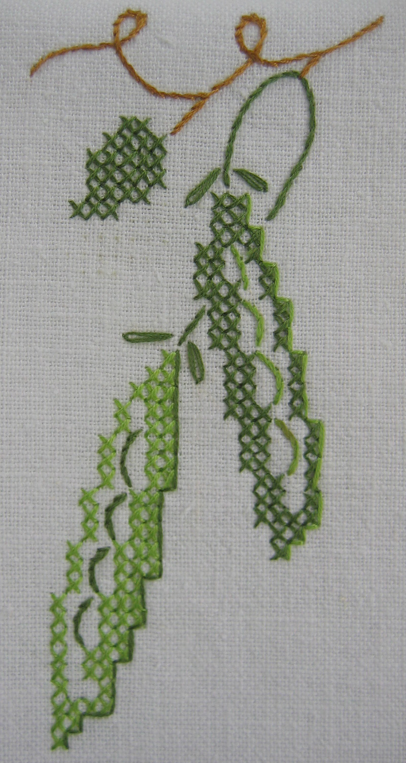 peas embroidery