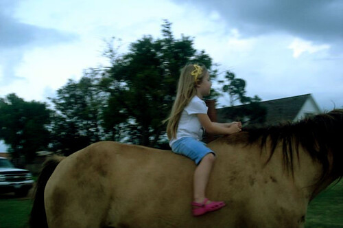 on a horse