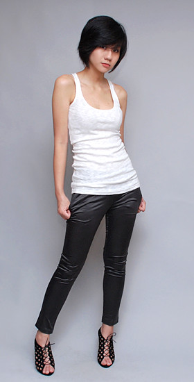 HERVELVETVASE Skinny Fit Satin WorkPants in gunmetal grey $27.50 (M) Waist 13.5-17.2 L 35 Rise 8.7