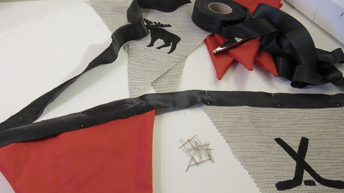 6a. DIY Project: Canada Day Pennant Bunting: Pin Pennants To Ribbon and Sew