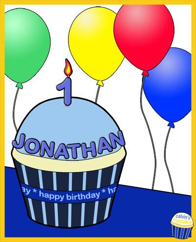 Jonathan's 1st birthday cupcake