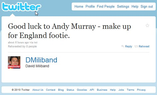 David Miliband puts the hex on Andy murray