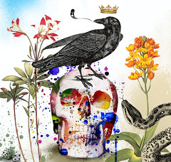 Jogo da Vida (.  F L F  .) Tags: portrait game flower color bird art love halloween colors digital garden cores poster dead skulls skeleton skull design king snake amor surrealism ghost pop textures muertos crown bone sk serpent psychedelic caveira given surrealismo walpaper crnio psicodlico franciscofreitas