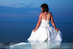 (Jennifer McCready Photography/Lady Luck Pin Ups) Tags: blue wedding woman white lake ontario canada sexy water beautiful dress grimsby trashthedress jennifermccreadyphotography
