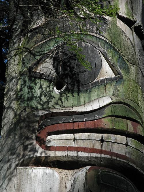 totem face, Kasaan Totem Park, Kasaan, Alaska