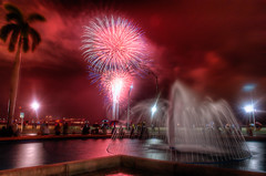 4th on Flagler - Fireworks 2010 - Deep reds (MDSimages.com) Tags: world city travel sky urban usa sun water fountain colors night clouds digital america reflections photography lights coast blog nikon media unitedstates display florida fireworks blossom south july westpalmbeach east celebration coastal processing northamerica metropolis southeast july4th independence 4thofjuly palmbeach metropolitan hdr highdynamicrange 2010 spectacle palmbeachcounty westpalm deepreds photomatix nikond3 michaelsteighner mdsimages hyliteproductions 4thonflagler photomike07 mdsimagescom hylitecom