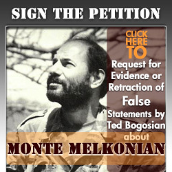 Request for Evidence or Retraction of False Statements by Ted Bogosian about Monte Melkonian