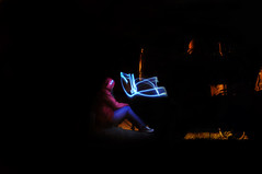 (Anderson Sutherland) Tags: longexposure blue light lightpainting color bird girl night train painting photography star photo paint shot jeans allstar