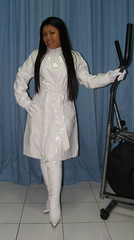 White PVC Coat (johnerly03) Tags: white fashion asian boots coat philippines thigh filipina length pvc zentai erly