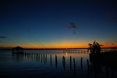 Turquoise sky (Flying Jenny) Tags: sunset shadow sky cloud sun water weather silhouette clouds river evening pier twilight dock scenery ray skies shadows venus view florida dusk indian gradient planet tropical planets rays boathouse crepuscularrays crepuscular indianriver