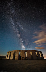 Moonlit Stonehenge under Milky way (protikH) Tags: clouds stars long exposure nightshot replica goldendale worldwari stonehenge wa milkyway maryhill