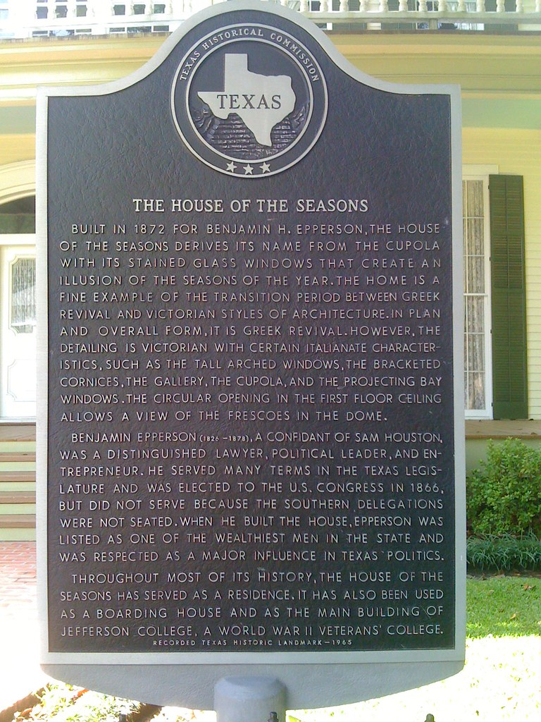 The House Of The Seasons, Jefferson, Texas Historical Marker