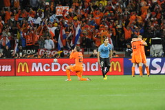 Netherlands celebrate the victory. Rafael van der vaart (Stanthefan) Tags: people sport vertical horizontal southafrica football goalie fussball stadium soccer fulllength running capetown match activity oneperson active suedafrika react dribbling capitalcities zaf matchsport fuball fifaworldcup2010 twoperson threeperson internationalteamsoccer westernprovence