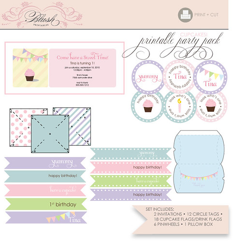Printable Party Pack - Cupcake Suite