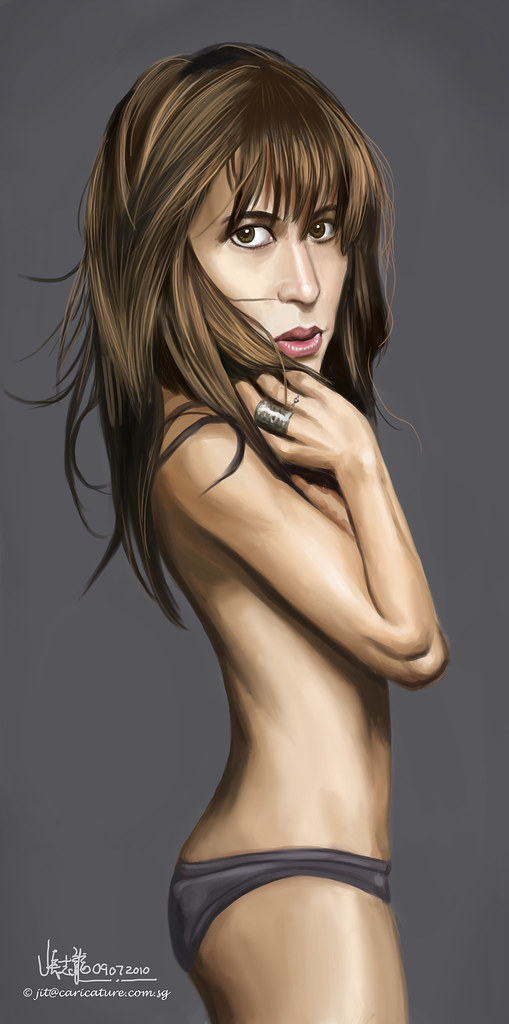 digital caricature of Sophie Marceau