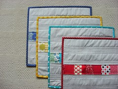 Placemats (flossyblossy) Tags: rainbow strip patchwork scrap placemats