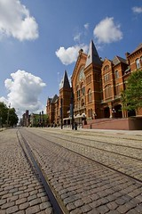 wonderful photo of old streetcar tracks still in place in front of Cincinnati Music Hall (by: Gordon Bombay, Queen City Discovery)