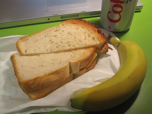 Cheese toast from Pasta Café ($2.50), soda ($1.25), did not eat that banana