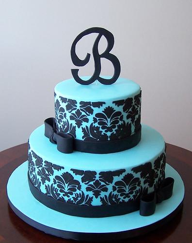 Tiffany blue and black damask cake