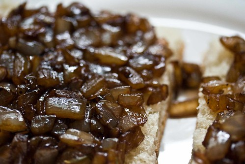 balsamic glazed onions on bread