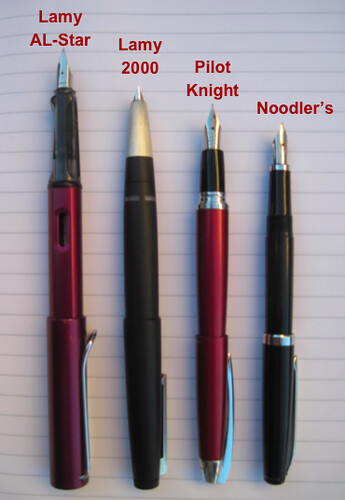 Noodler's Ink Piston Fill Fountain Pen: Size compare against (left to right) Pilot Knight, Lamy 2000, and Lamy AL-Star