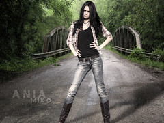 Bridged (Edit) (Poe Tatum) Tags: bridge woman wet girl rain female boots manipulation jeans edit