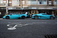 Turquoise Pair. (Alex Penfold) Tags: road street blue green london cars alex sports car canon photography eos one photo crazy cool image turquoise awesome 4 picture fast super spot special exotic photograph lp parked spotted hyper lamborghini supercar sv spotting exotica koenigsegg sportscars 2010 combo 670 lambo penfold veloce spotter hypercar 450d hpyer ccxr lp6704 lp670