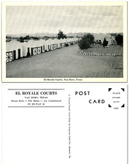 El Royale Courts_Van Horn Texas_tatteredandlost (T and L basement) Tags: travel ephemera motels vanhorntexas motorcourts elroyalecourts vintagemotelpostcards