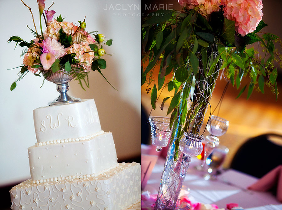Wedding cake, reception decorations.