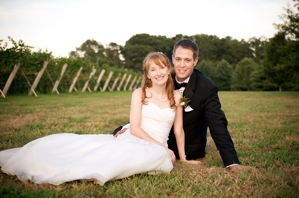 newlyweds in vineyard