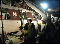 safety workers examine the 2009 accident (National Transportation Safety Board)