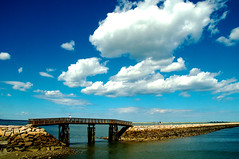 Bridge to nowhere~ (ruthiedee) Tags: ocean bridge sky water clouds fisherman jetty walkers plymouthma plymouthharbor nikond300