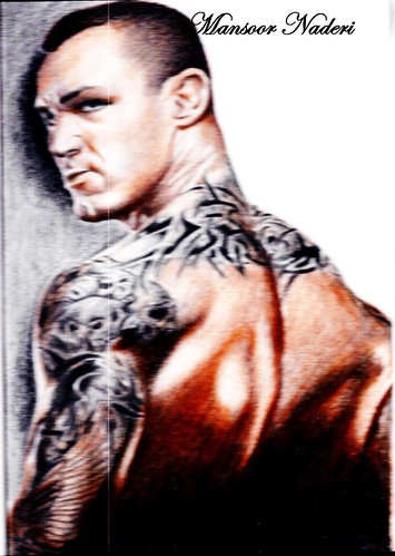 A sketch of Randy Orton with his new tattoos, Sketch by Mansoor Naderi