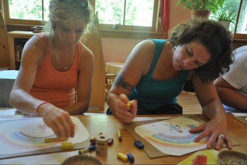 Coloring with Beeswax Crayons
