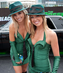 Two Green Hornet Ladies (San Diego Shooter) Tags: portrait sandiego cosplay comiccon halloweencostumes greenhornet sandiegocomiccon comicconinternational costumeideas comicconcostumes comiccon2010 comicconcostumes2010 comicconsandiego2010 greenhornetladies promogirlscomiccon2010 greenhornetmovie