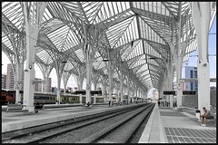 Calatrava in Lisboa (Explore) (Bert Kaufmann) Tags: building portugal station architecture train design gare lisboa lisbon transport railway zug bahnhof explore railwaystation architect calatrava rails lissabon santiagocalatrava trein architectuur spoor parquedasnaes selectivecolor selectivecolour arquitect garedooriente orientestation explored spoorwegstation transporthub necso selectief selectievekleur