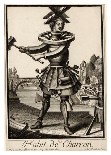 038-Vestimenta de carpintero de carros-Les Costumes Grotesques 1695-N. Larmessin-BNF