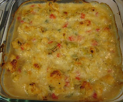 Cheesy Artichokes, Cauliflower & Red Pepper @ Debbi Does Dinner