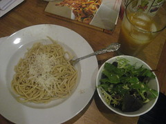 Spaghetti and salad