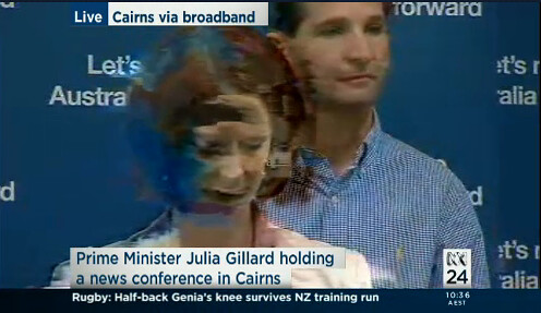 Gillard live from Cairns via dodgy broadband