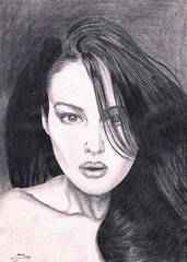 Monica Bellucci (Wasfi Akab) Tags: show girls light shadow portrait people blackandwhite bw italy woman white black hot cute sexy art film girl pencil paper movie italian europe artist italia natural artistic drawing iraq showgirl monica painter actress actor draw brunette exile middle iraqi hotty bellucci middleast akab wasfi