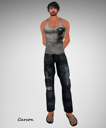 . WoE . Dragon Tank (Grey) . WoE . Kole Dragon Jeans (Blue)