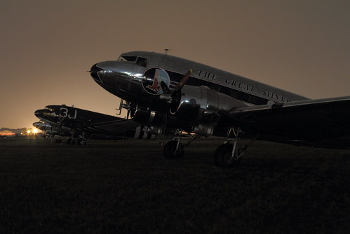DC-3 parking at night