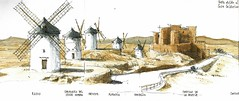 La Mancha, windmill row (Luis_Ruiz) Tags: windmill sketch drawing molino lamancha consuegra