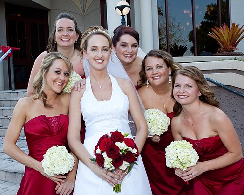 Red roses and white hydrangea wedding bouquets