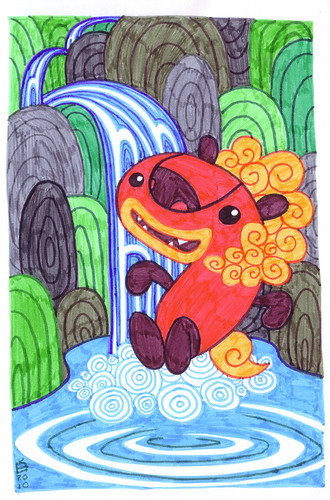 foo-dog at the waterfall