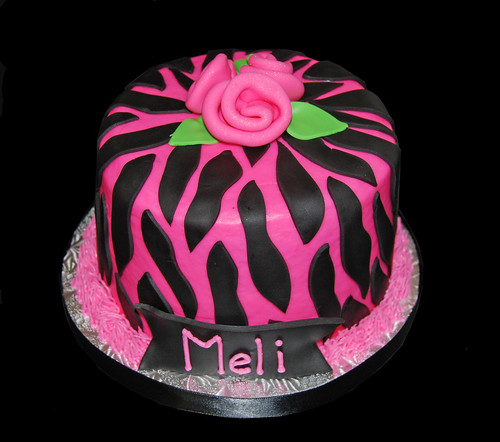 Small Pink and Black Zebra print birthday cake